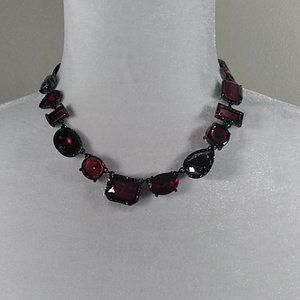 WHBM Ruby Red Choker Statement Necklace NWT VIDEO